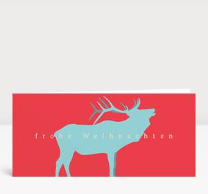 Weihnachtskarte Hirschprofil Hellblau Rot