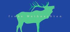 Weihnachtskarte Hirschprofil Grün Blau