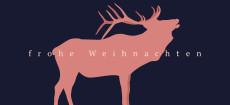 Weihnachtskarte Hirschprofil Rosé Dunkelblau