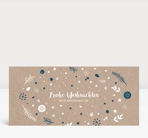 Weihnachtskarte Weihnachtswunschkugel Karton Blau