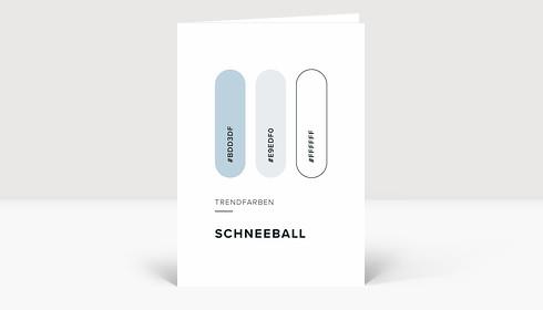 Weihnachtskarte Trendfarben: Schneeball
