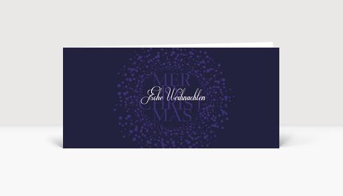 Weihnachtskarte Schwirrende Schneekugel auf blau violett in DIN Lang