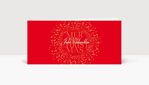 Weihnachtskarte Schwirrende Schneekugel auf rot in DIN Lang