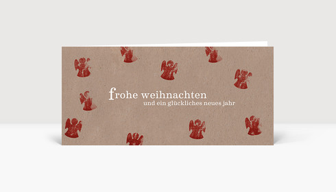 Weihnachtskarte Kartoffeldruck Engel rot