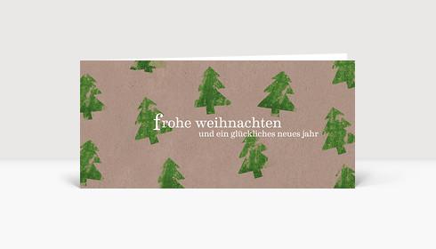 Weihnachtskarte Kartoffeldruck Tannen grün