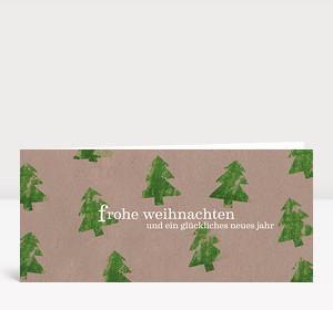 Weihnachtskarte Tannen grün