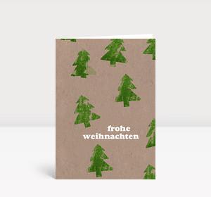 Weihnachtskarte Tannen grün Kartoffeldruck