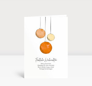 Weihnachtskarte Scribblekugeln Orange