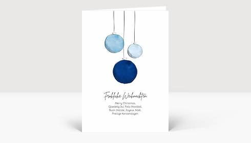 Weihnachtskarte Scribblekugeln Blau