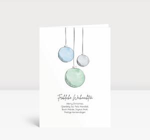 Weihnachtskarte Scribblekugeln Grün-Blau
