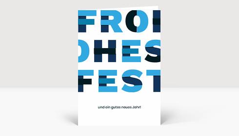 Weihnachtskarte Frohes Fest Material Design Blau