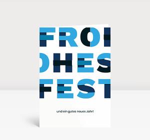 Weihnachtskarte Frohes Fest Blau
