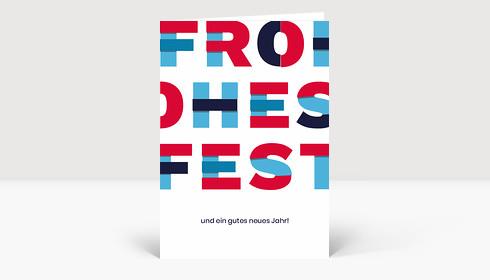 Weihnachtskarte Frohes Fest Material Design Blau Rot