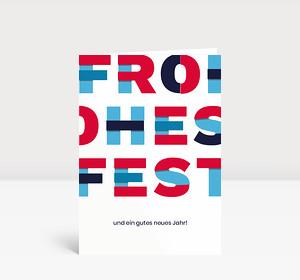 Weihnachtskarte Frohes Fest Blau Rot