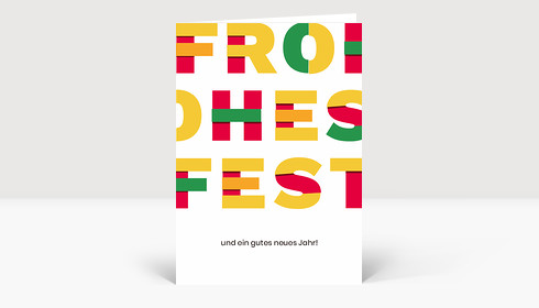 Weihnachtskarte Frohes Fest Material Design Rot Grün Gelb