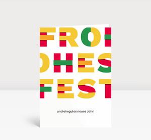 Weihnachtskarte Frohes Fest Rot Grün Gelb