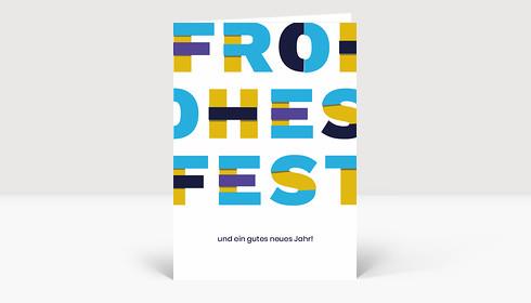 Weihnachtskarte Frohes Fest Material Design Blau Gelb Violett