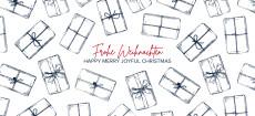 Weihnachtskarte Weihnachtspäckchen Blau
