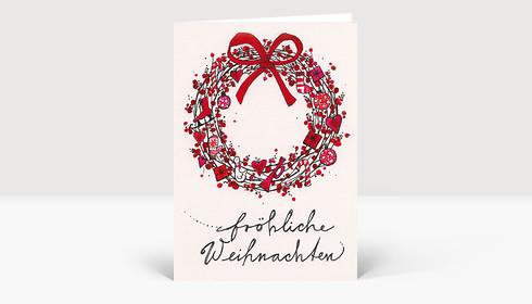 Weihnachtskarte Kranz mit roter Schleife