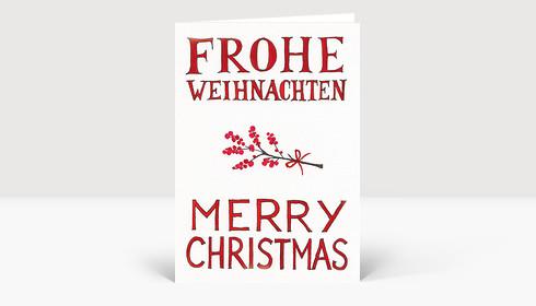 Weihnachtskarte Frohe Weihnachten Merry Christmas mit roten Beeren gezeichnet