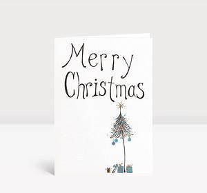 Weihnachtskarte Merry Christmas gezeichnet