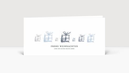 Weihnachtskarte Kleine Geschenke Grau-Blau