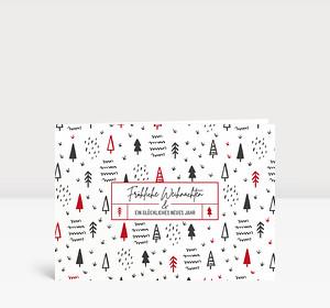 Weihnachtskarte Scribble Wald Rot