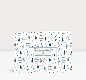 Weihnachtskarte Scribble Wald Blau