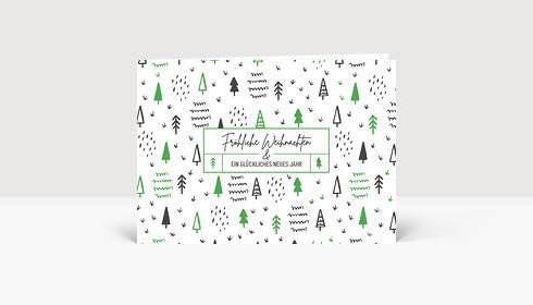 Weihnachtskarte Scribble Wald Grün