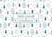 Weihnachtskarte Scribble Wald Türkis