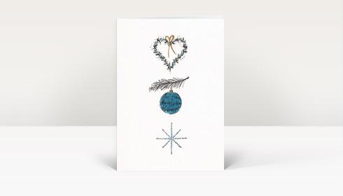Weihnachtskarte herz ast weihnachtskugel stern blau gold dk399 - Weihnachtskugel englisch ...
