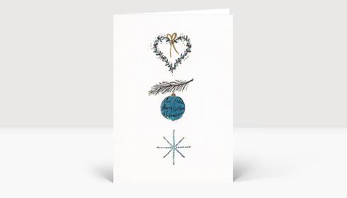 Weihnachtskarte Herz Ast Weihnachtskugel Stern blau gold