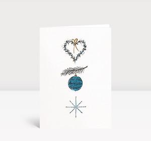 Weihnachtskarte Herz Ast Weihnachtskugel Stern