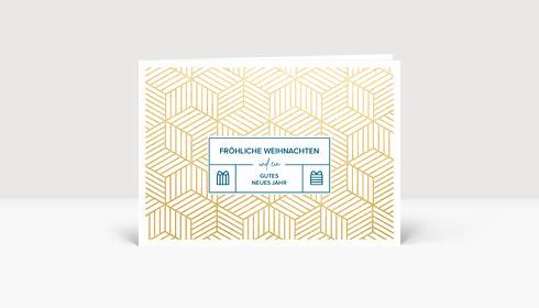 Weihnachtskarte Goldpaket Petrol
