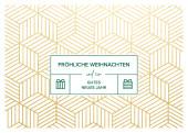 Weihnachtskarte Goldpaket Grün