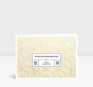 Weihnachtskarte Goldpaket Blau
