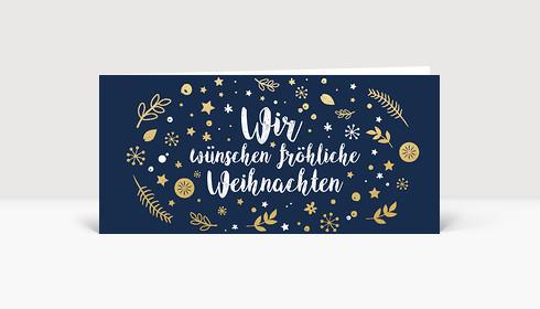 Weihnachtskarte Wunschkugel Blau-Gold