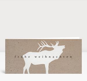 Weihnachtskarte Hirschprofil Karton