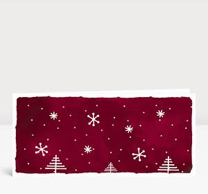Weihnachtskarte Weihnachtslandschaft Rot