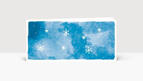 Weihnachtskarte Schnee Aquarell