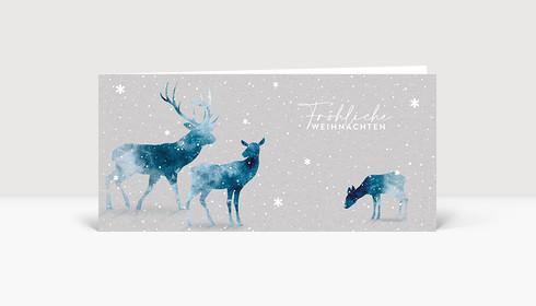 Weihnachtskarte Hirsche Aquarell