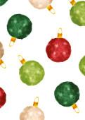 Weihnachtskarte Aquarell Kugeln Rot-Grün