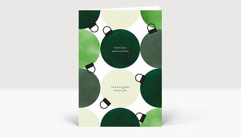 Weihnachtskarte Festliche Kugeln Grün