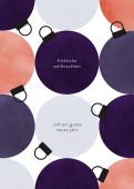 Weihnachtskarte Festliche Kugeln Violett