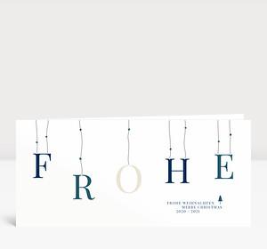Weihnachtskarte Sternenband Blau