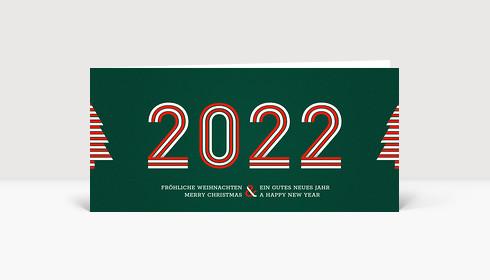 Weihnachtskarte Stripes 2021 Grün-Rot