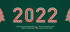 Weihnachtskarte Stripes 2022 Grün-Rot