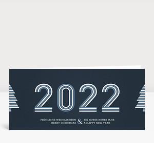Weihnachtskarte Stripes 2021 Blau