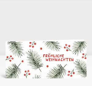 Weihnachtskarte Zweige und Beeren