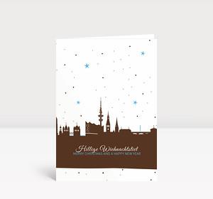 Weihnachtskarte Hamburg Sternenhimmel braun
